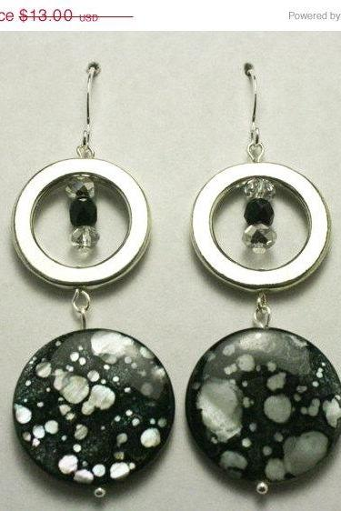 ON SALE Black and White Spaller Paint Earrings