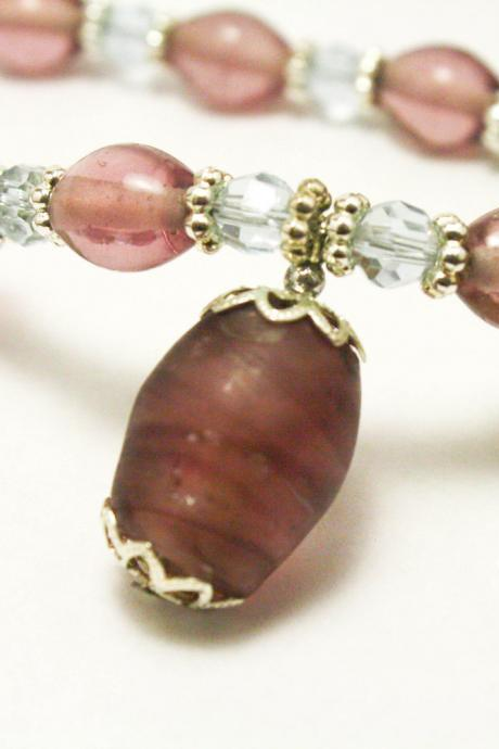 Purple Glass and Pearl Necklace