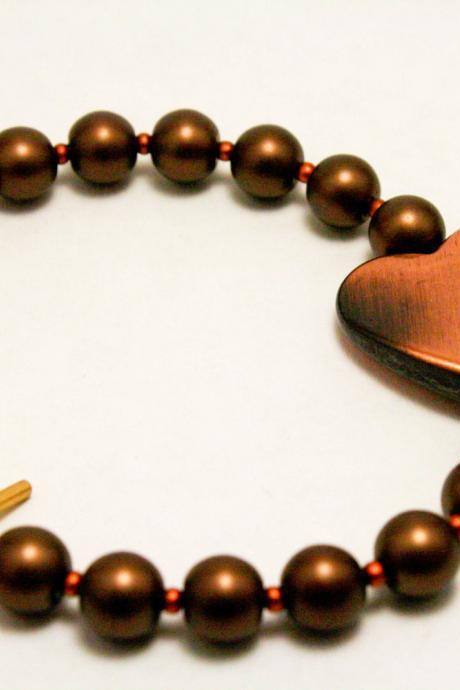 Copper Pearl Heart Bracelet