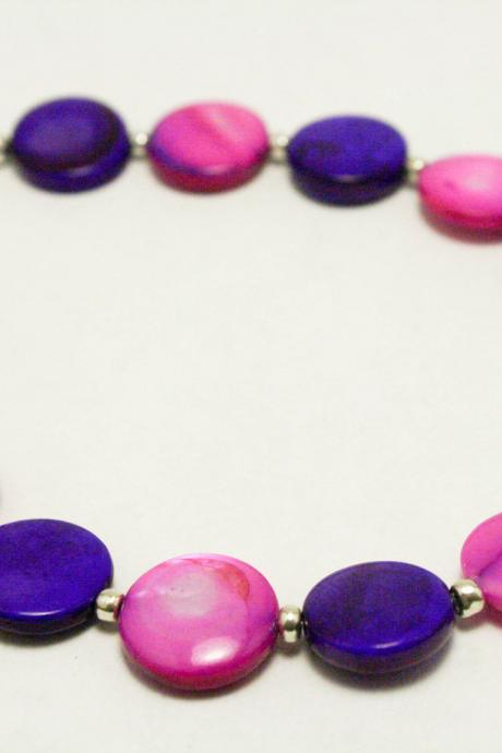 Pink and Purple Shell Bracelet