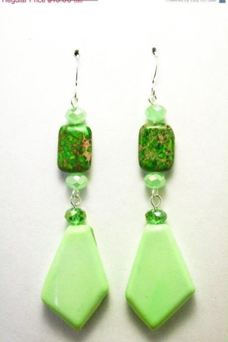 ON SALE Light Green Chalk Turquoise Earrings