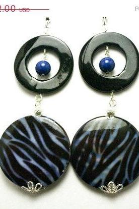 ON SALE Blue and Black Shell Zebra Print Earrings