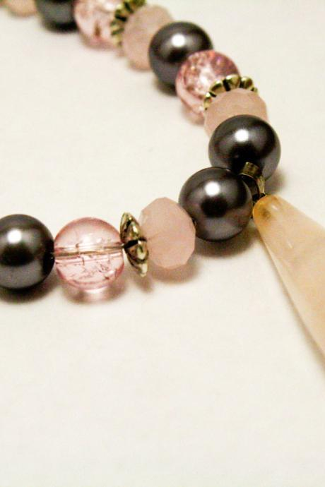 Silver and Pink Quartz Necklace