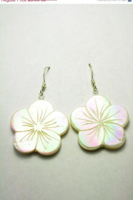 ON SALE Flower Shell Earrings