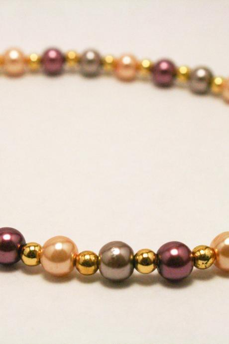 Brown and Cream Pearl Necklace