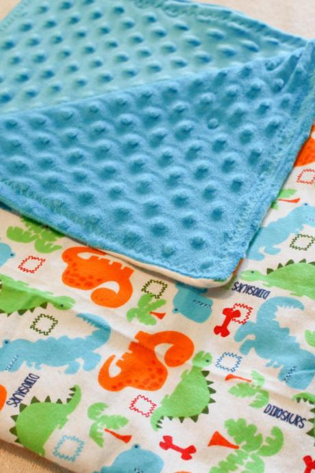 Blue Minky and Dinosaur Flannel Baby Blanket