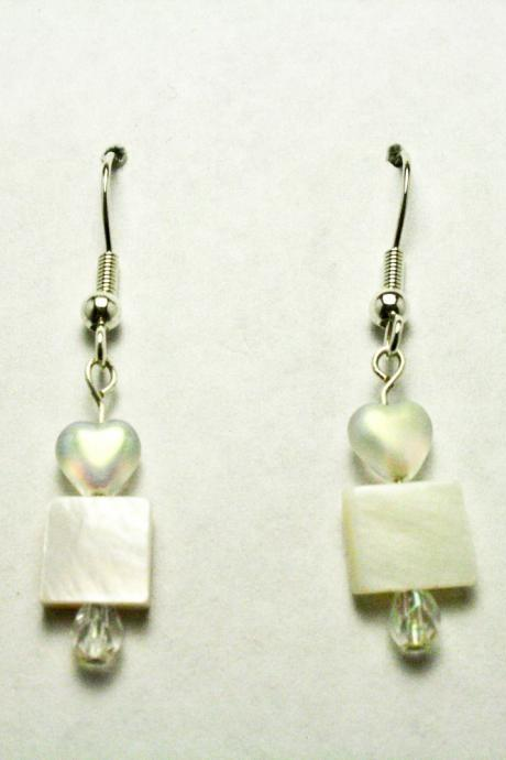 CLEARANCE White Glass Heart and Shell Dangle Earrings