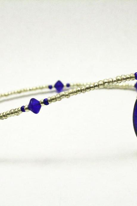 Dark Blue and Silver Glass Necklace