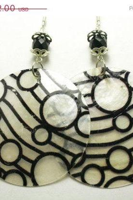 ON SALE Black Painted Shell Earrings