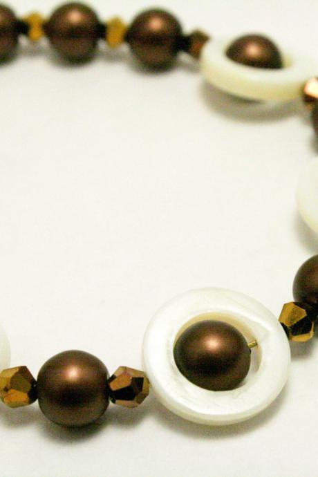 Brown Pearl and White Shell Bracelet