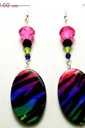 ON SALE Rainbow Zebra Print Earrings