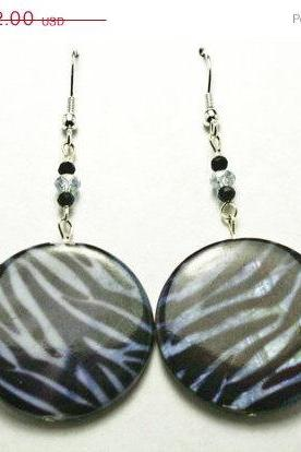 ON SALE Blue Zebra Print Earrings