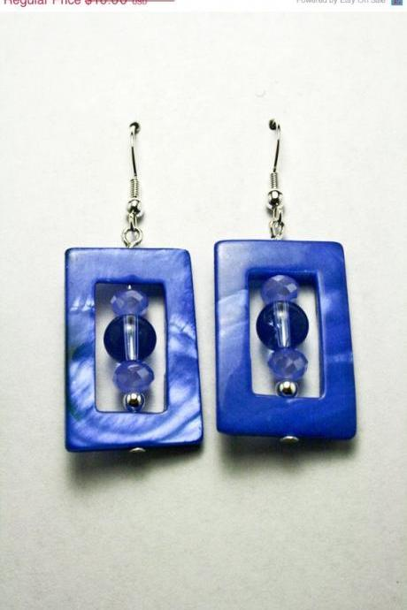 ON SALE Blue Shell and Glass Square Earrings