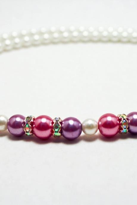 Purple, Pink, and White Crystallized Pearl Necklace