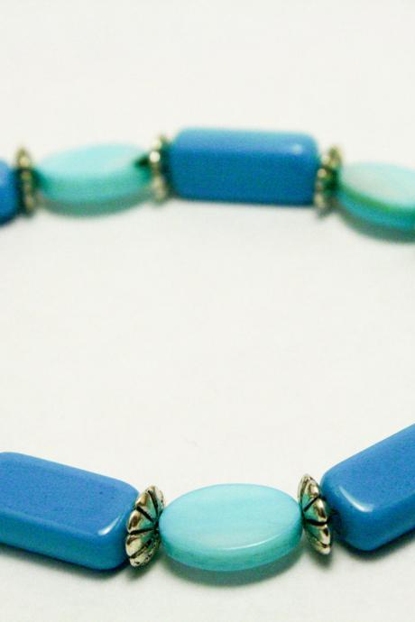 Blue and Silver Shell Bracelet