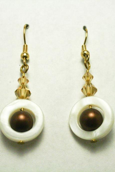 CLEARANCE Brown Pearl and White Shell Dangle Earrings