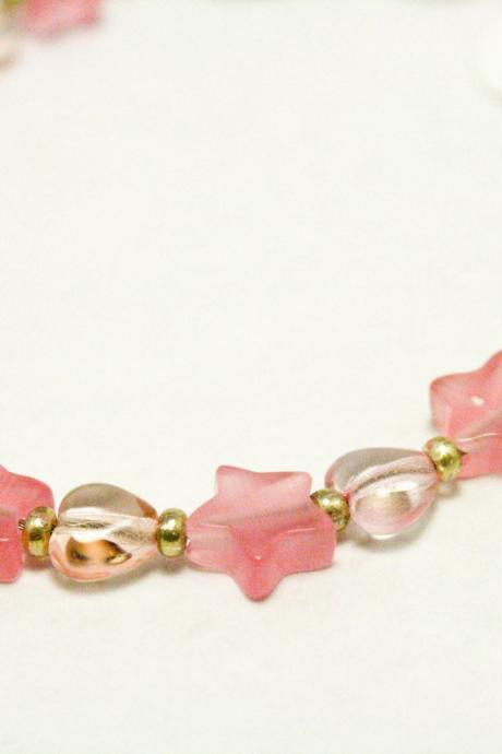 Pink Cats Eye Glass Star and Heart Bracelet