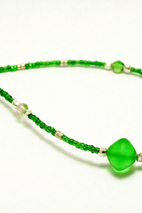 CLEARANCE Green and Silver Seed Bead Necklace