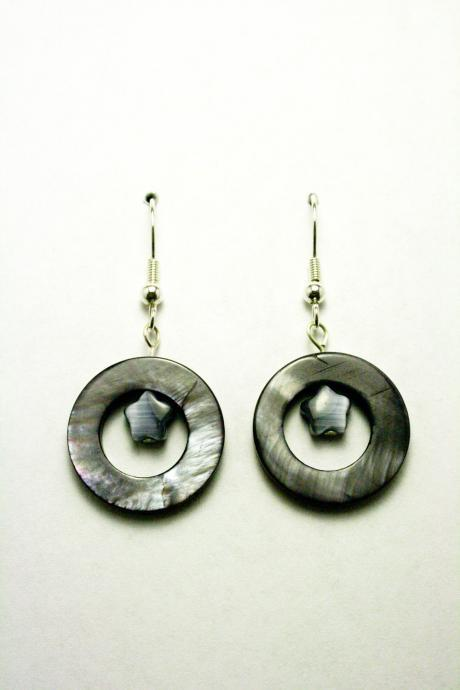 CLEARANCE Grey Shell and Cats Eye Glass Star Earrings