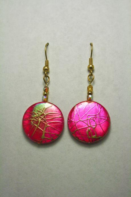 CLEARANCE Hot Pink and Gold Splatter Zebra Print Earrings