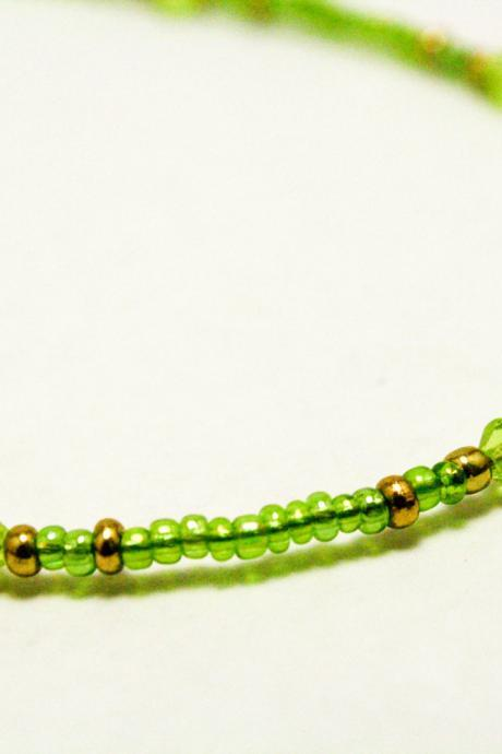 CLEARANCE Green and Gold Seed Bead Anklet