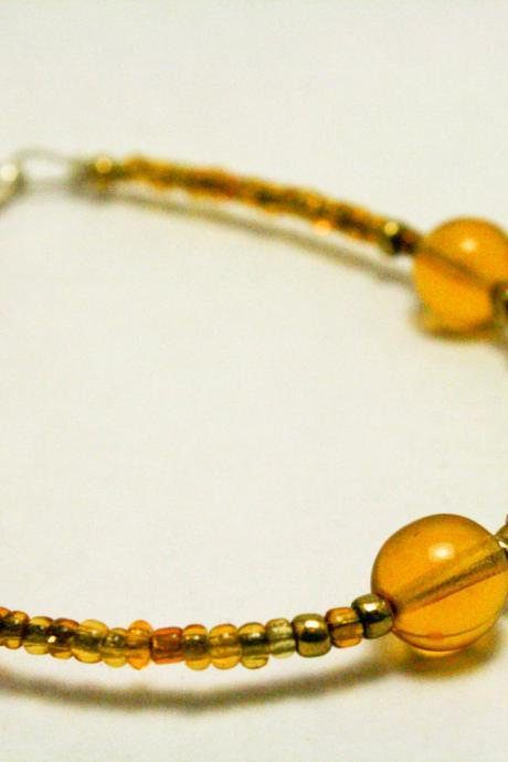 CLEARANCE Brown and Gold Glass Bracelet