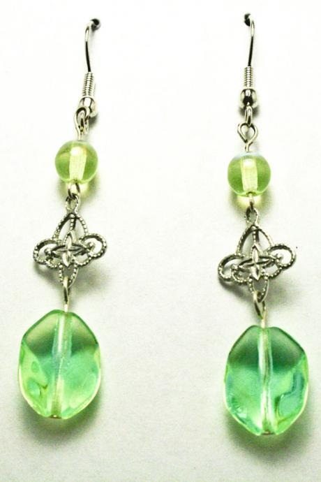CLEARANCE Lime Green Glass Dangle Earrings