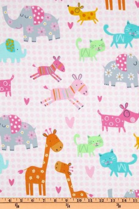 Baby Girl Pink Jungle Animals Fitted Crib Sheet