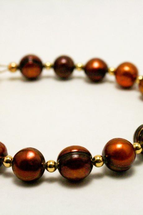Brown and Gold Potato Pearl Bracelet