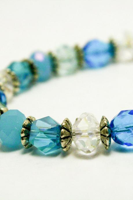 Blue Fire Polished Glass Bracelet