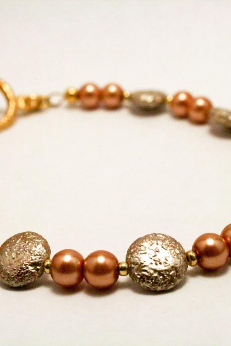 Brown and Cream Colored Pearl Bracelet