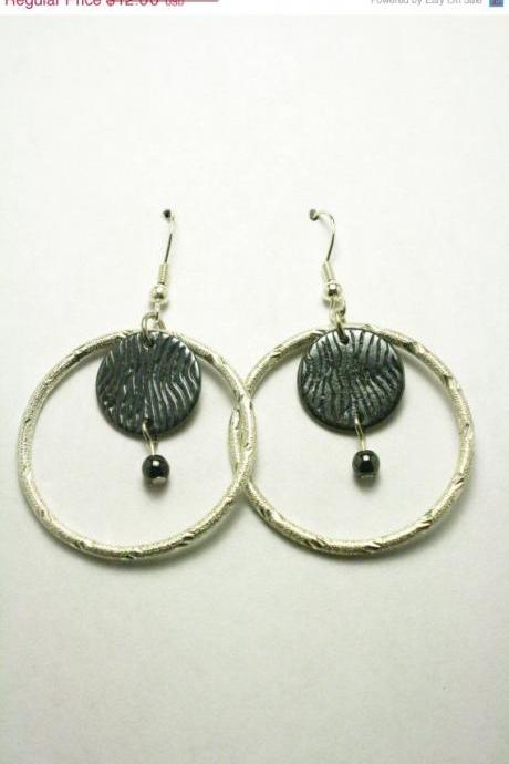 ON SALE Silver and Black Metal Hoop Earrings
