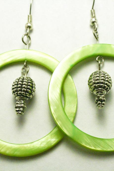 CLEARANCE Light Green Shell and Silver Earrings