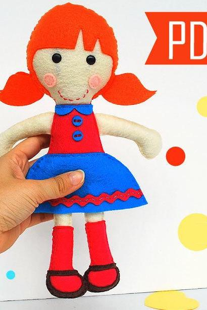 Tiffany Rag Doll Sewing pattern - Tiffany Red Hair Doll PDF ePATTERN Instant Download A799