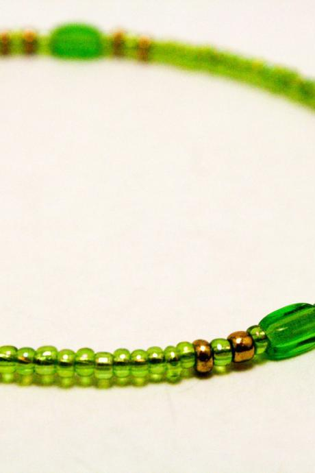 CLEARANCE Green and Gold Glass Bracelet