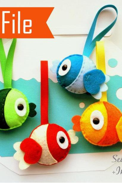 DIY Plush Felt Fish Sewing Pattern, Felt Fish Plush Kids craft Project MariaPalito Instant Download A873
