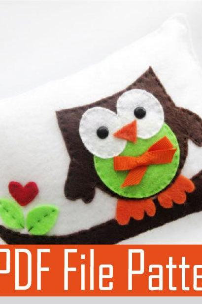 Pattern & sewing instructions Owl pillow, PDF pattern, Felt PILLOW craft Project MariaPalito A874
