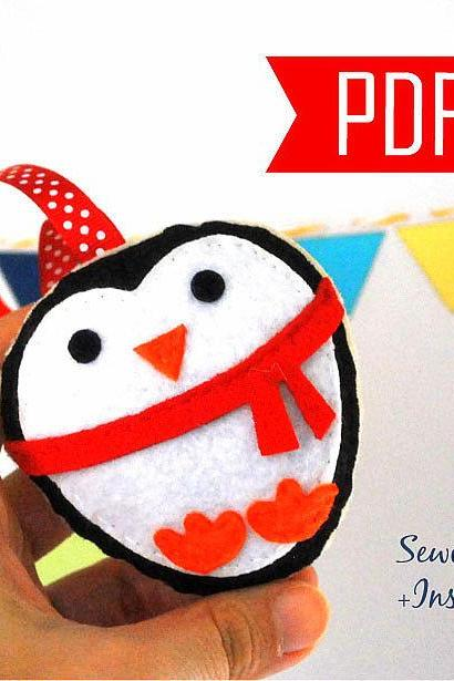 DIY Penguin Christmas Ornament PDF Cookie Sewing pattern , Kids craft Project MariaPalito A881