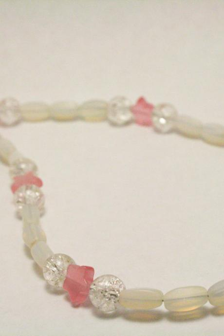 CLEARANCE White Glass and Pink Star Necklace