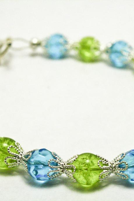 Silver, Blue, and Green Crackle Glass Bracelet