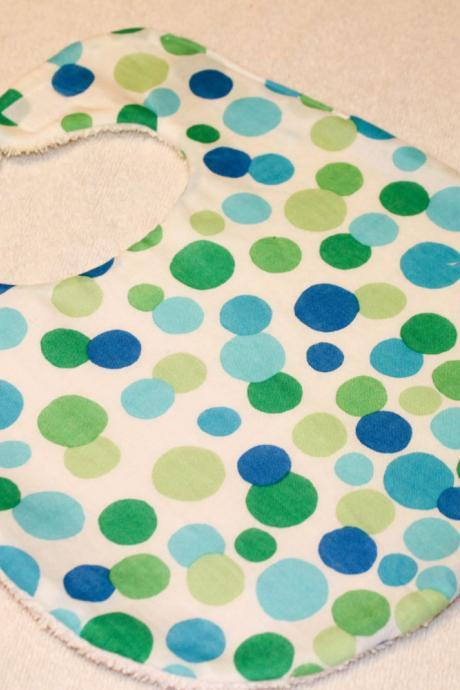 Green and Blue Polka Dots Baby Bib