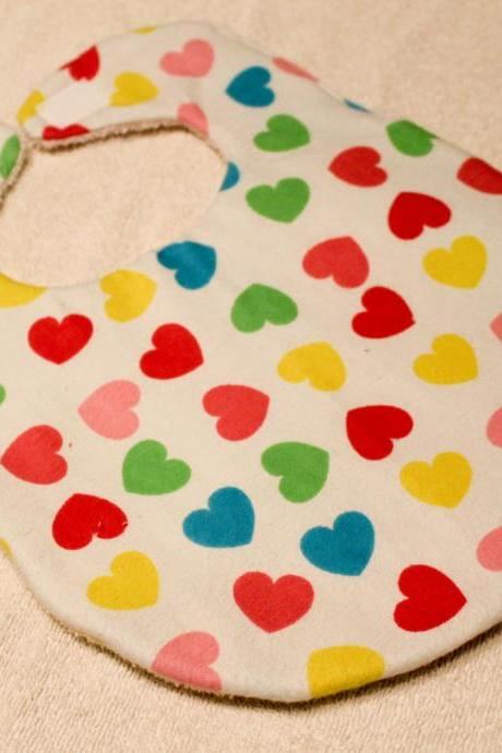 Baby Girl Multi Colored Heart Print Flannel Bib