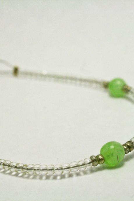 CLEARANCE Clear Glass and Jade Green Bracelet