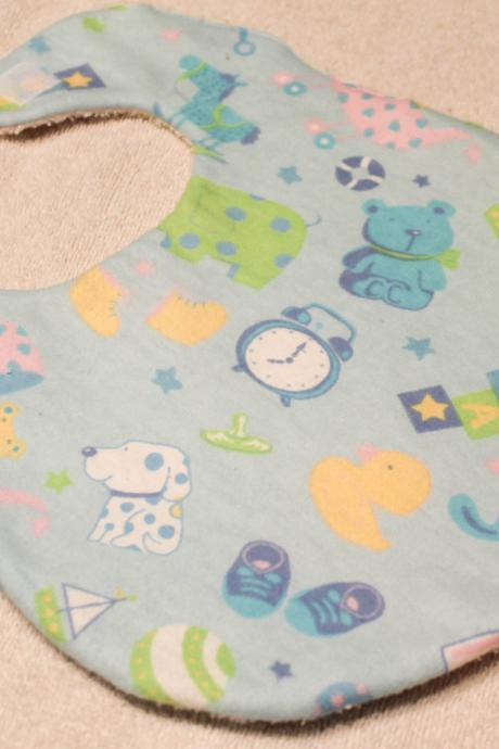 Baby Boy Blue Nursery Toy Print Flannel Bib
