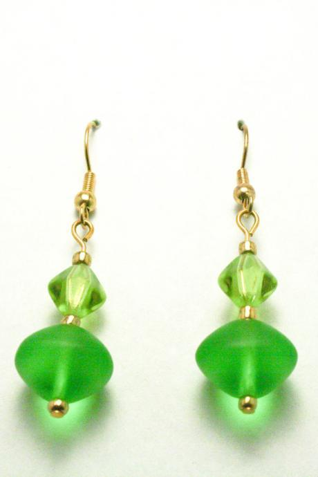 CLEARANCE Gold and Green Glass Earrings