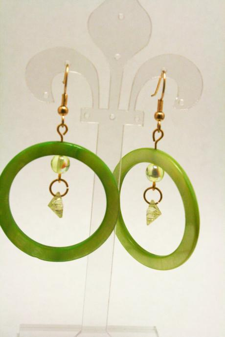 CLEARANCE Light Green Shell Hoop Earrings