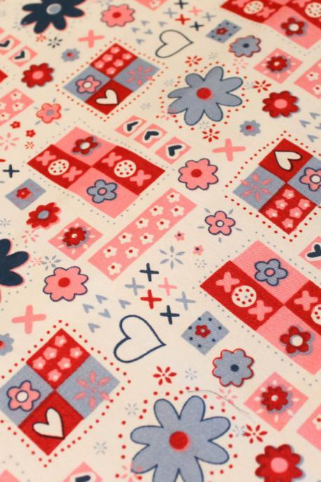 CLEARANCE Baby Girl Flowers and Hearts Fitted Crib Sheet