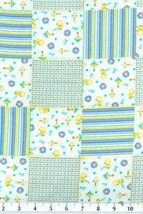 Baby Boy Blue Patchwork Print Fitted Crib Sheet
