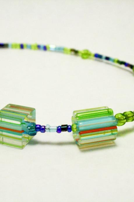 CLEARANCE Teal and Green Mixed Glass Necklace