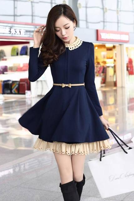 Chic Hollow Turndown Collar Puff Sleeve Pleated A Line Dress - Navy Blue